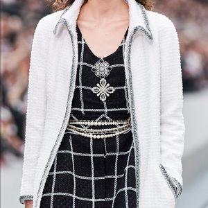 Chanel Spring 2020 Black White Grid Tweed 20S Top